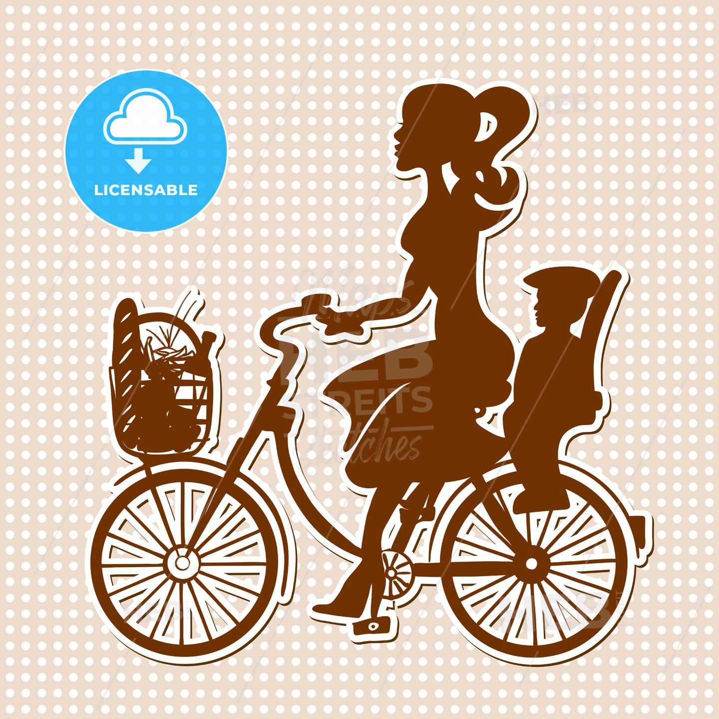Vintage Retro Lady on Bike with Child and Purchase in Basket - Hebstreits