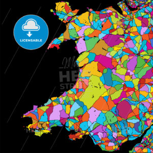 Wales, Great Britain, Colorful Vector Map on Black - Hebstreits