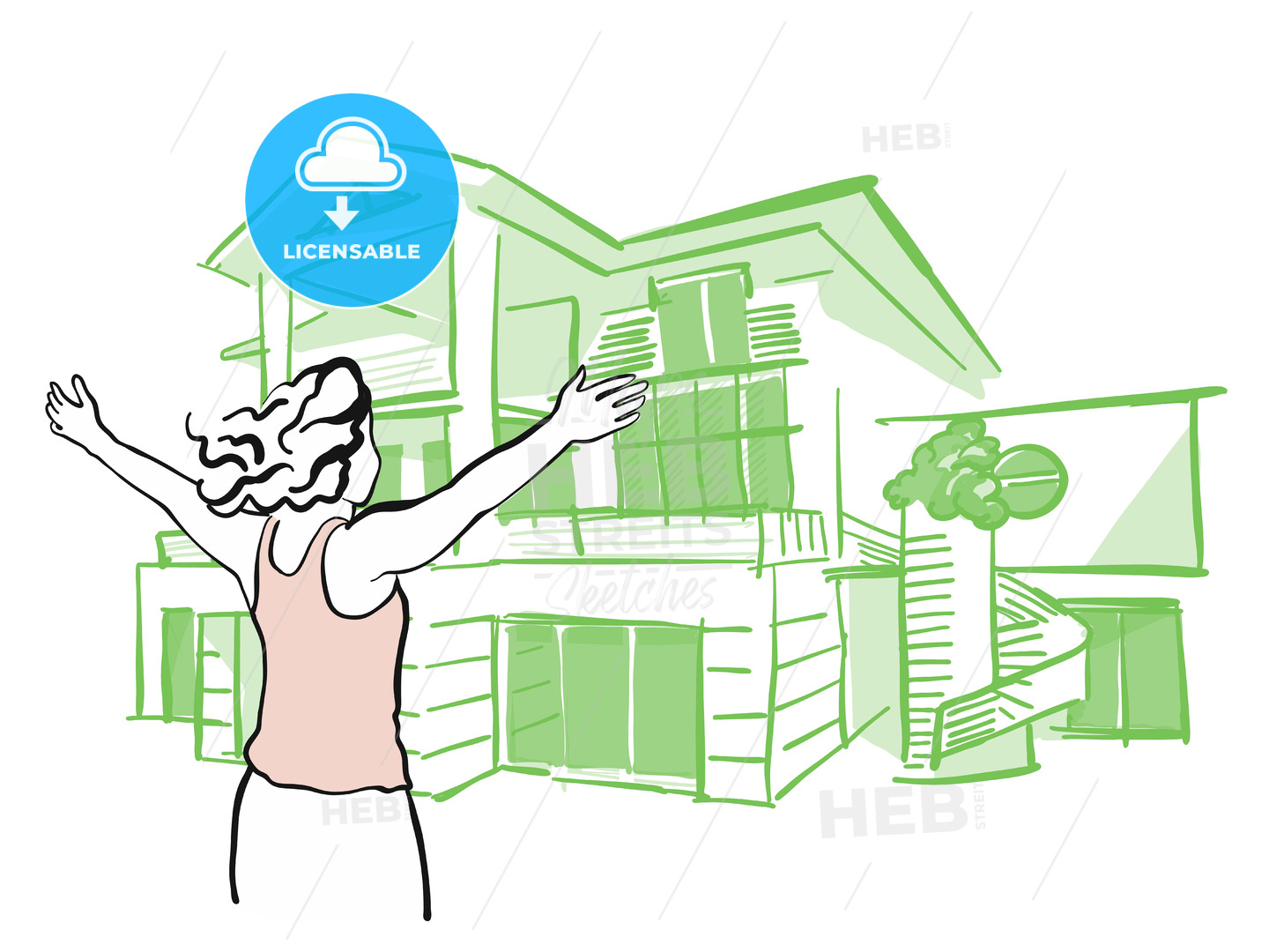 Woman is pulling arms upwards in front of dream house - Hebstreits