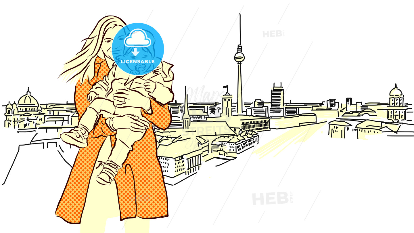 Woman with Child in Front of Berlin Panorama View. - Hebstreits