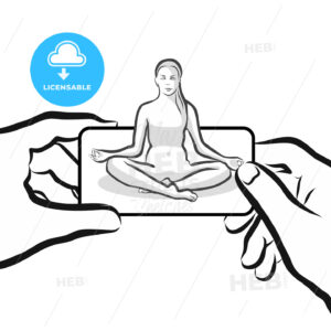 Yoga Exercise Woman on Landscape Smartphone holding by Hands - Hebstreits