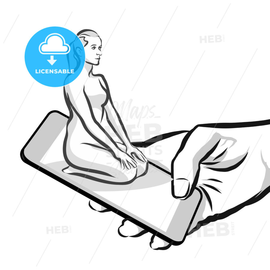 Yoga Thunderbolt Pose in App, 3D concept Sketch - Hebstreits