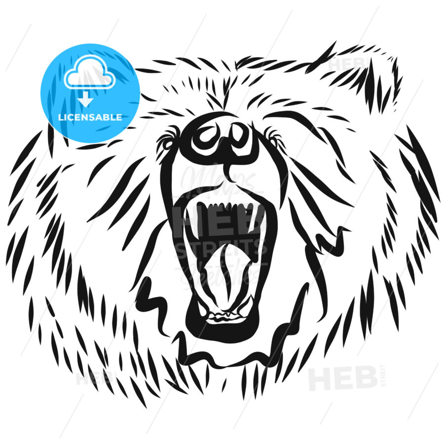 grizzly bear head, rearing angry pose - Hebstreits