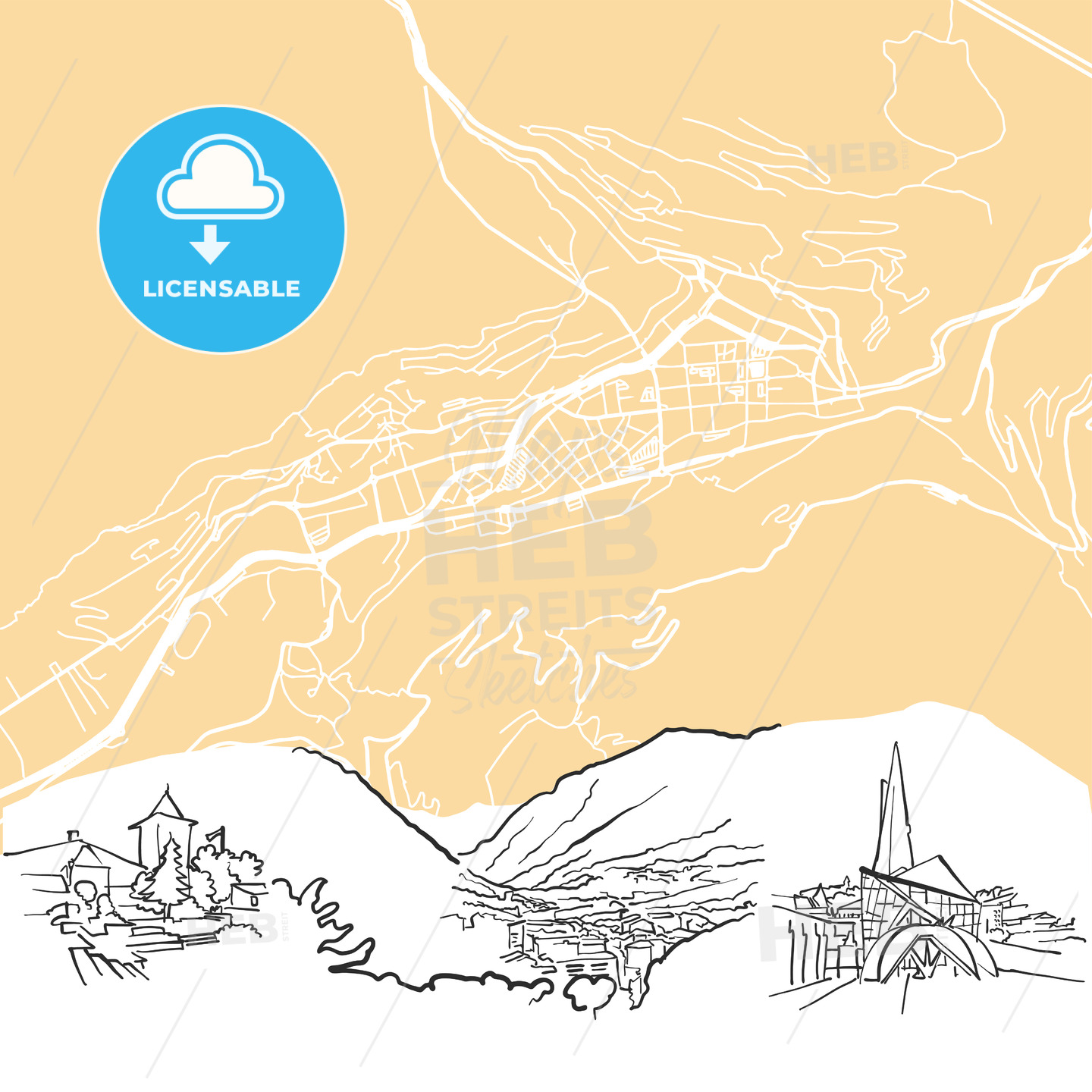Andorra la Vella Background Map - HEBSTREIT's Sketches