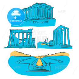 Athens Greece Colored Landmarks
