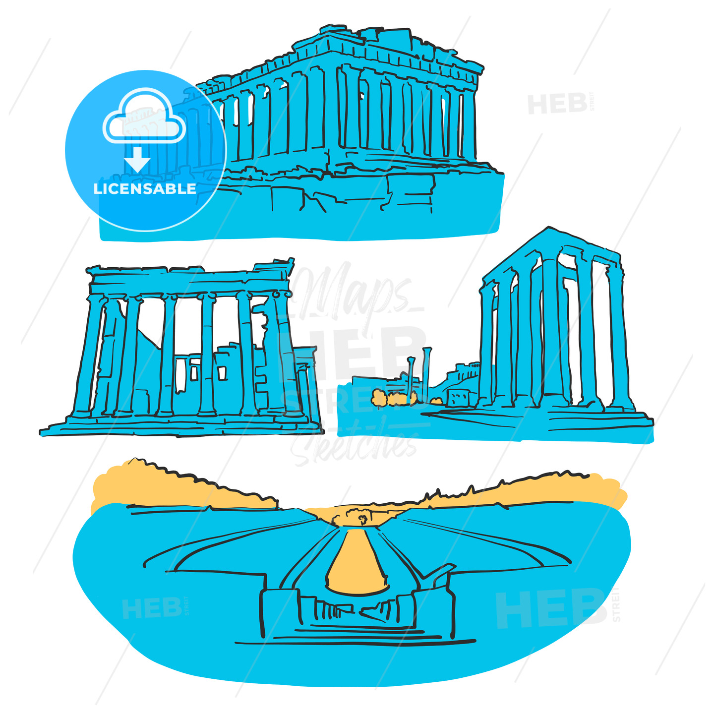 Athens Greece Colored Landmarks - Hebstreits
