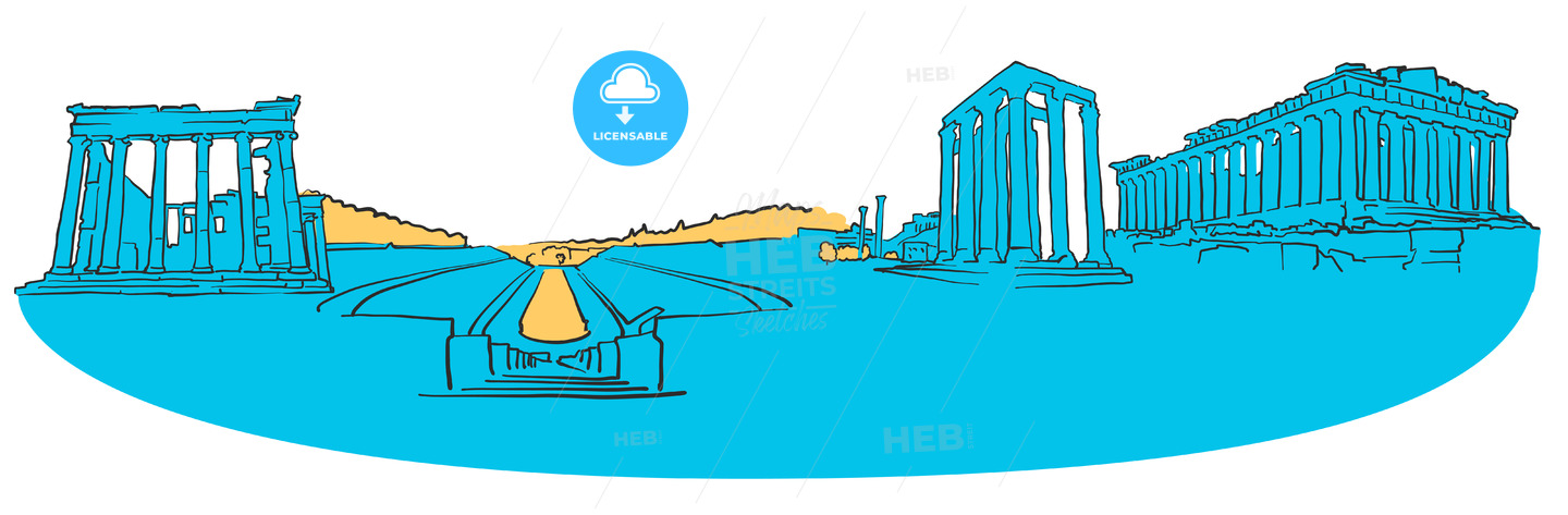 Athens Greece Colored Panorama - Hebstreits