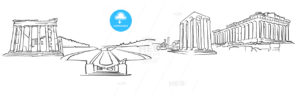 Athens Greece Panorama Sketch - Hebstreits