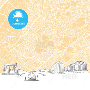 Athens Greece Skyline Map - HEBSTREIT's Sketches
