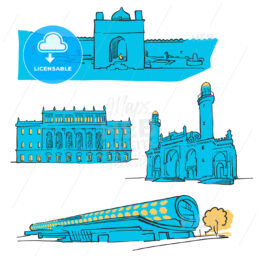 Baku Azerbaijan Colored Landmarks