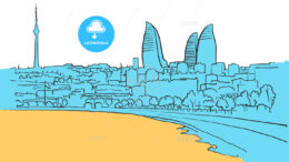 Baku Azerbaijan Colored Panorama