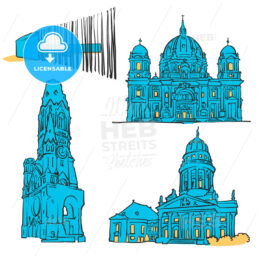 Berlin Germany Colored Landmarks
