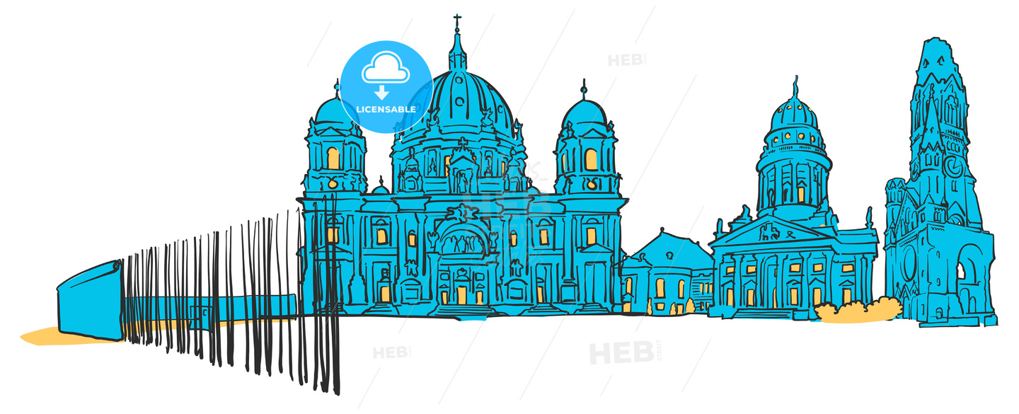 Berlin Germany Colored Panorama - Hebstreits