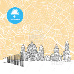 Berlin Germany Skyline Map