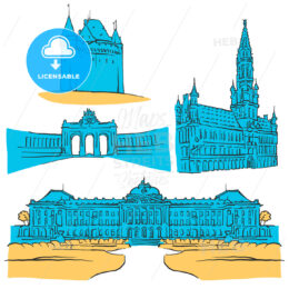 Brussels Belgium Colored Landmarks