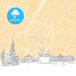 Brussels Belgium Skyline Map
