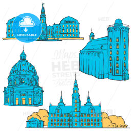 Copenhagen Denmark Colored Landmarks