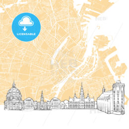 Copenhagen Denmark Skyline Map