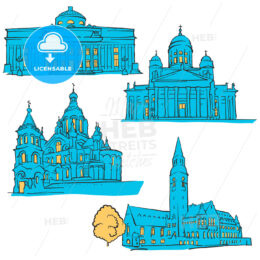 Helsinki Finland Colored Landmarks