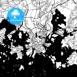 Helsinki Finland Vector Map - Hebstreits