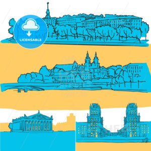 Minsk Belarus Colored Landmarks - Hebstreits