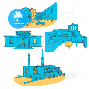 Nicosia	Cyprus Colored Landmarks - Hebstreits