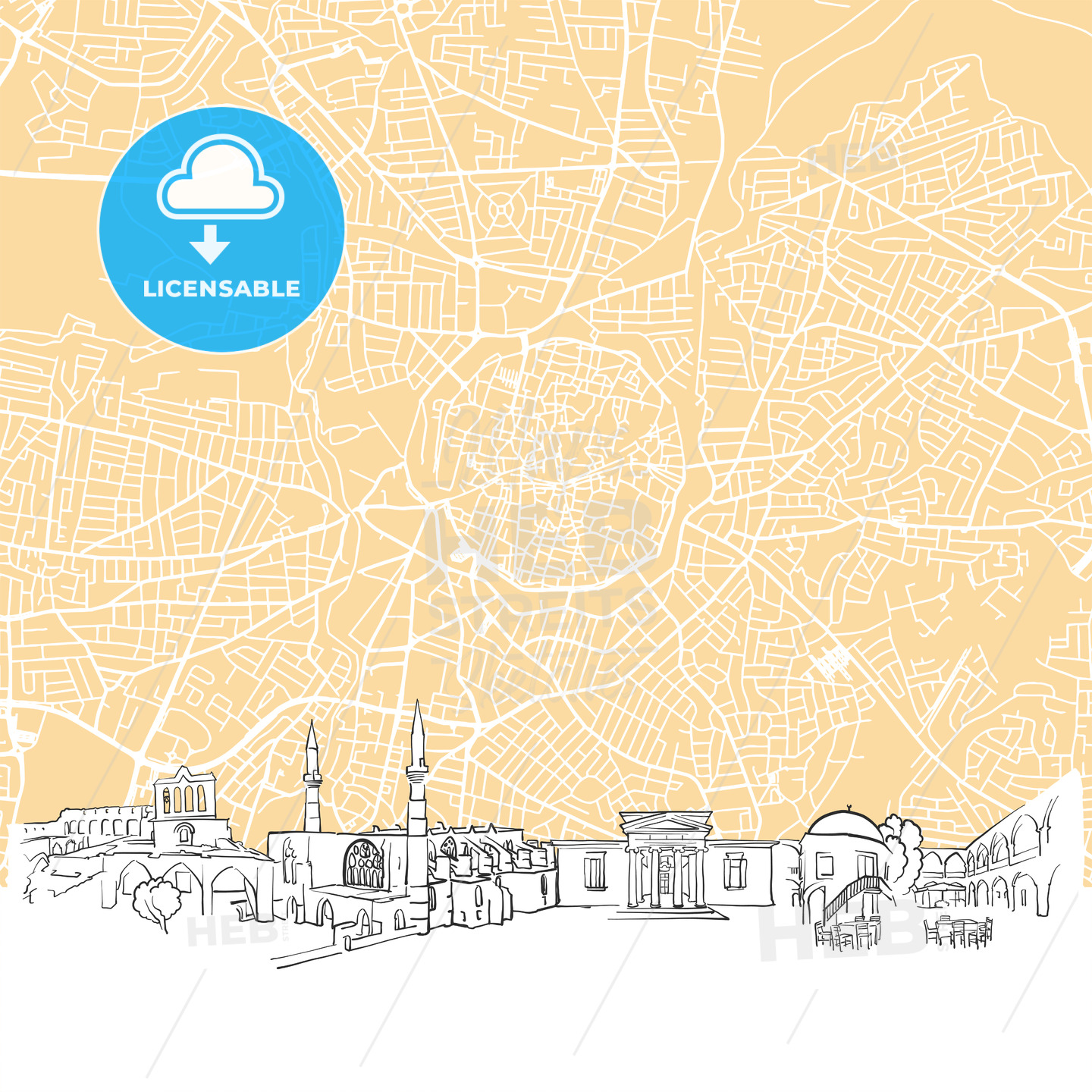 Nicosia	Cyprus Skyline Map - HEBSTREIT's Sketches