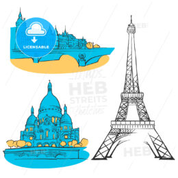 Paris France Colored Landmarks