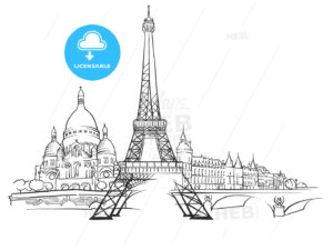 Paris France Panorama Sketch - Hebstreits