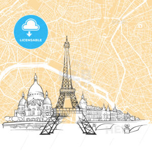 Paris France Skyline Map - HEBSTREIT's Sketches