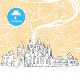 Prague Czech Republic Skyline Map