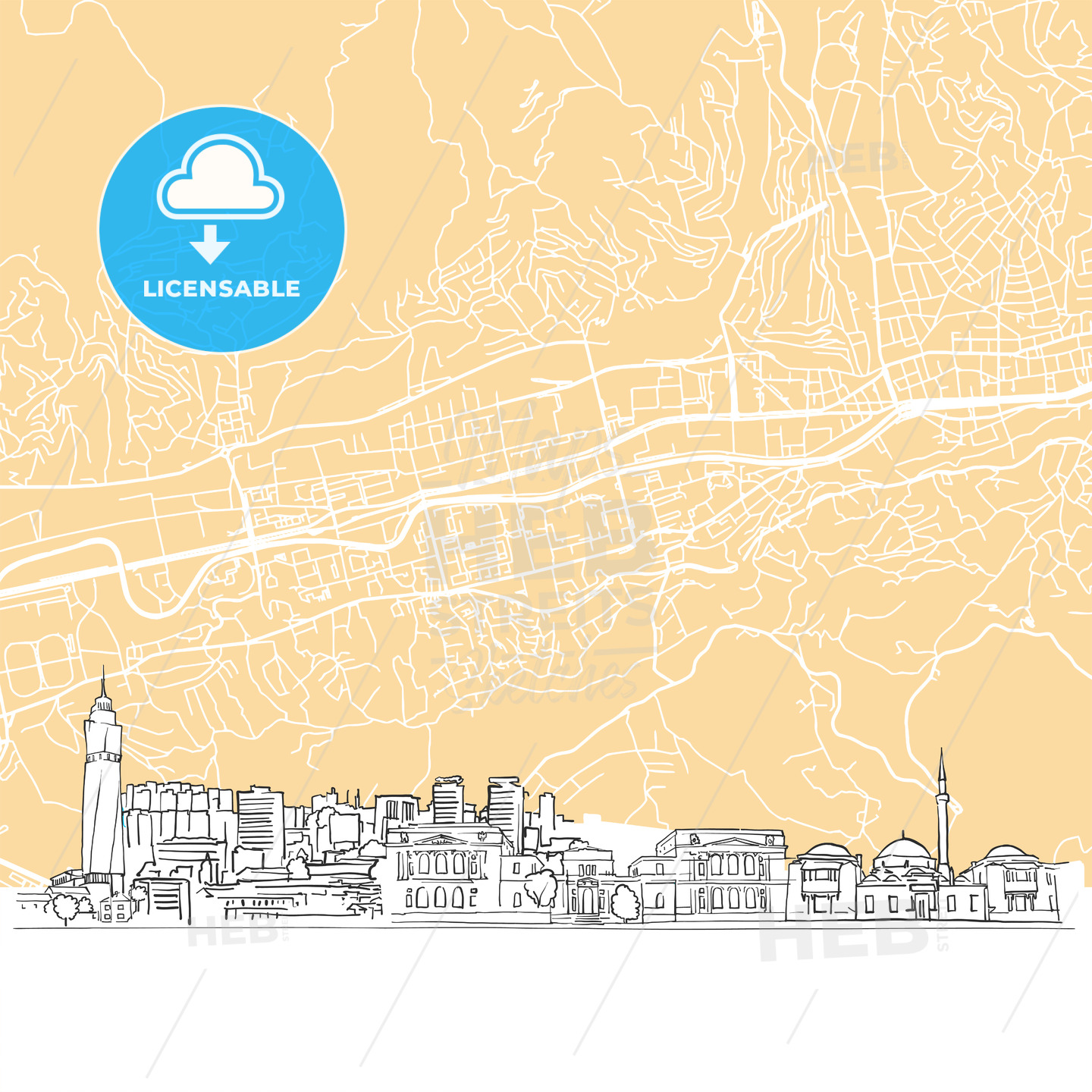 Sarajevo Bosnia and Herzegovina Skyline Map - HEBSTREIT's Sketches