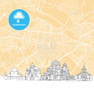 Sofia Bulgaria Skyline Map - HEBSTREIT's Sketches