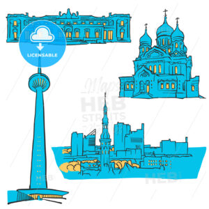 Tallinn Estonia Colored Landmarks - Hebstreits
