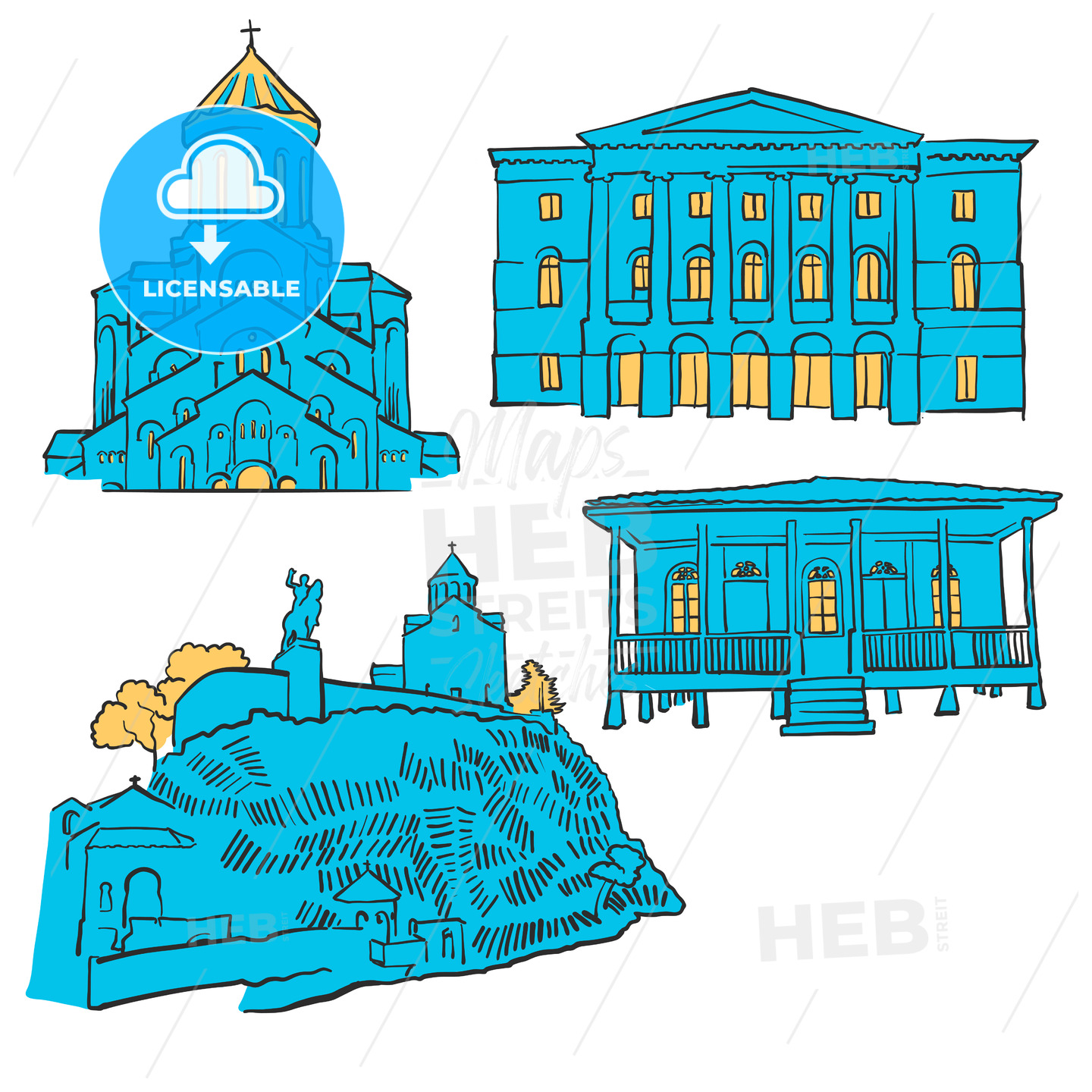 Tbilisi Georgia Colored Landmarks - Hebstreits