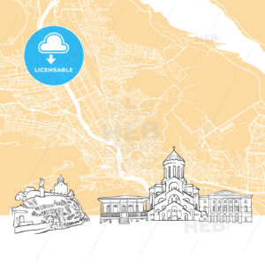Tbilisi Georgia Skyline Map - HEBSTREIT's Sketches