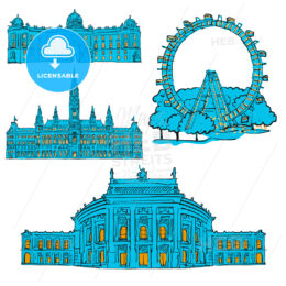 Vienna Austria Colored Landmarks