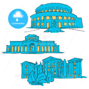 Yerevan Armenia Colored Landmarks - Hebstreits