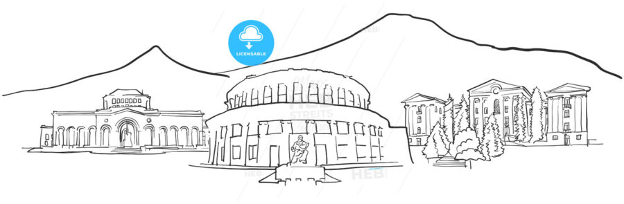 Yerevan Armenia Panorama Sketch - Hebstreits