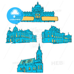 Zagreb Croatia Colored Landmarks