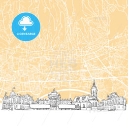Zagreb Croatia Skyline Map