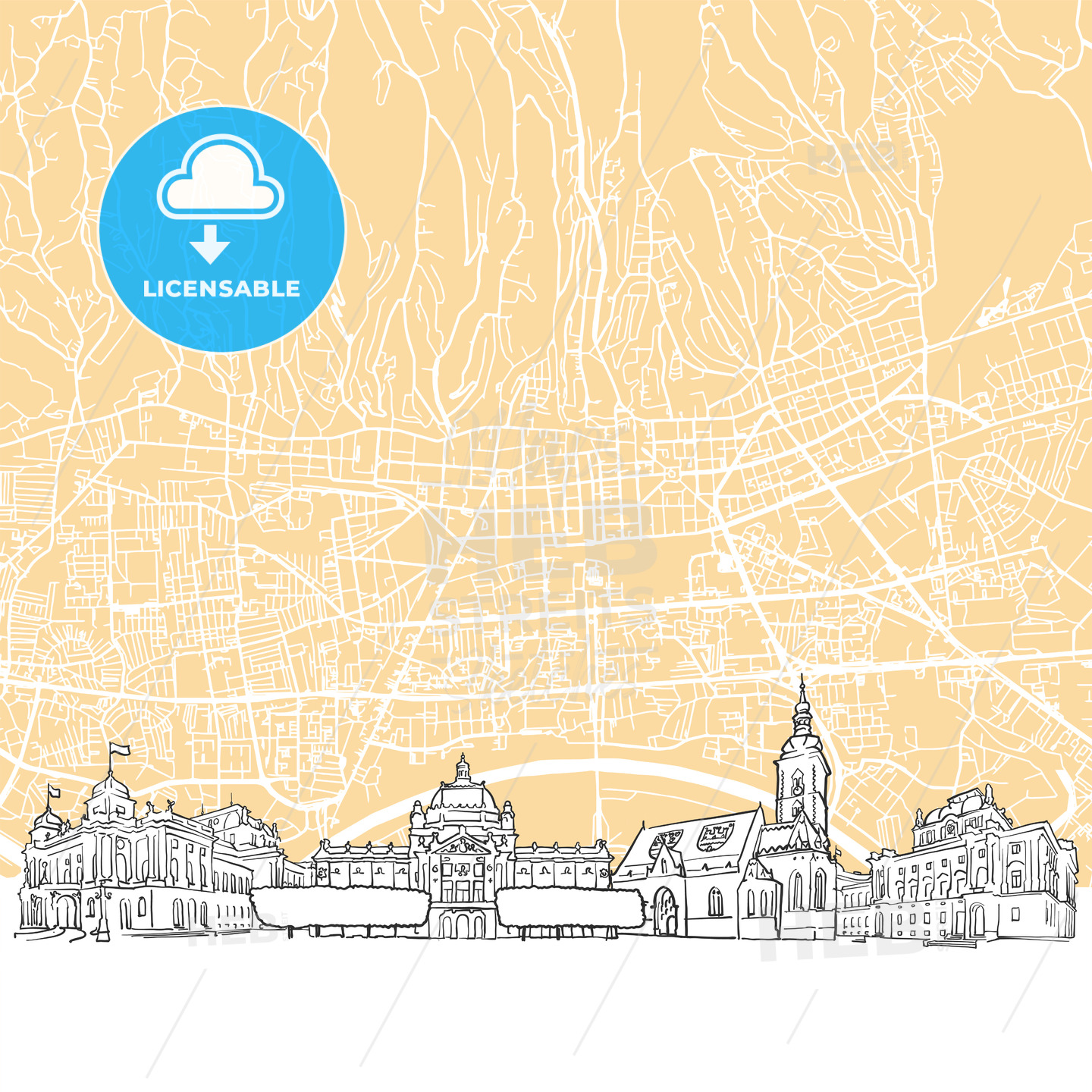 Zagreb Croatia Skyline Map - HEBSTREIT's Sketches