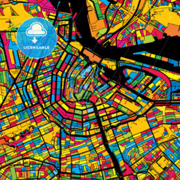Amsterdam Netherlands Colorful Map