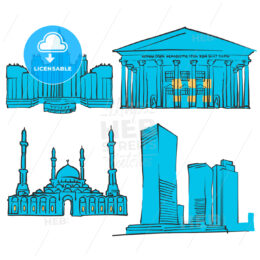Astana Kazakhstan Colored Landmarks
