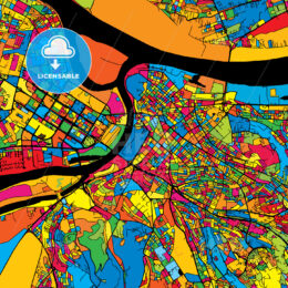Belgrade Serbia Colorful Map