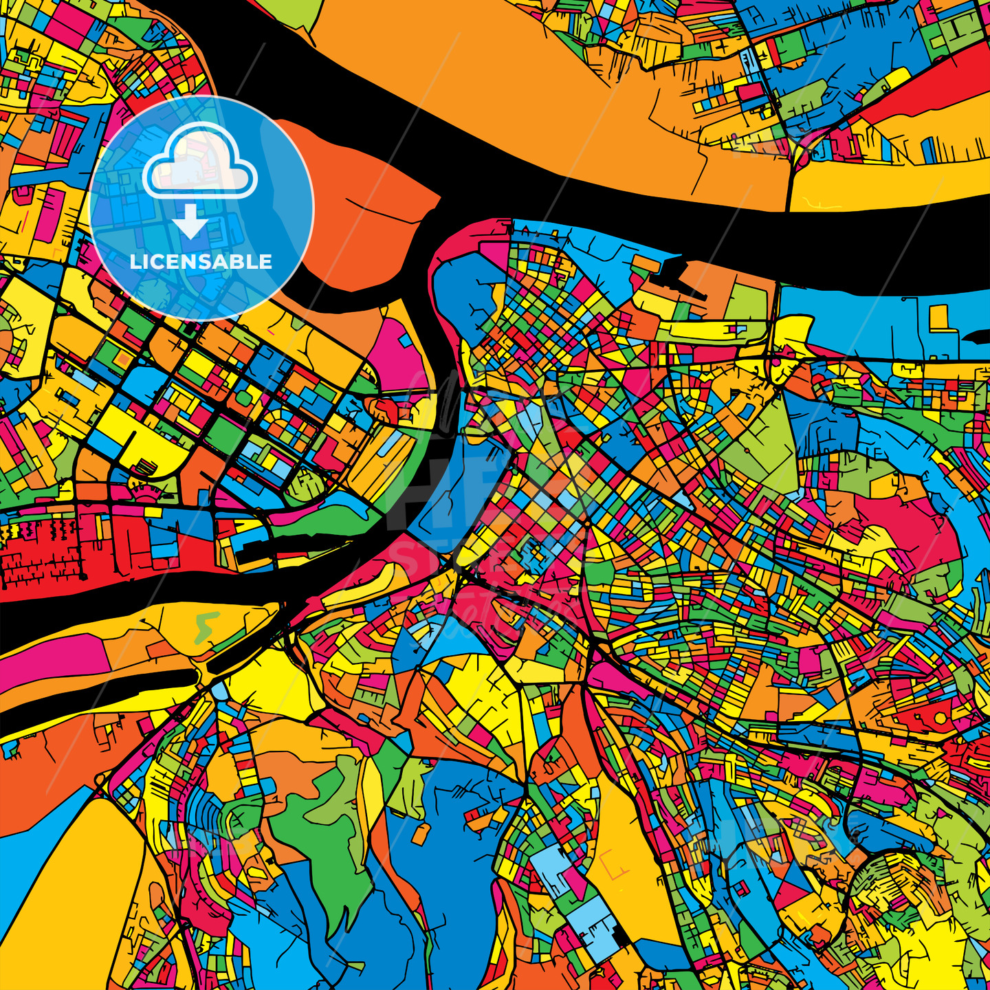 Belgrade Serbia Colorful Map - HEBSTREIT's Sketches