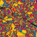 Berlin Germany Colorful Map - Hebstreits