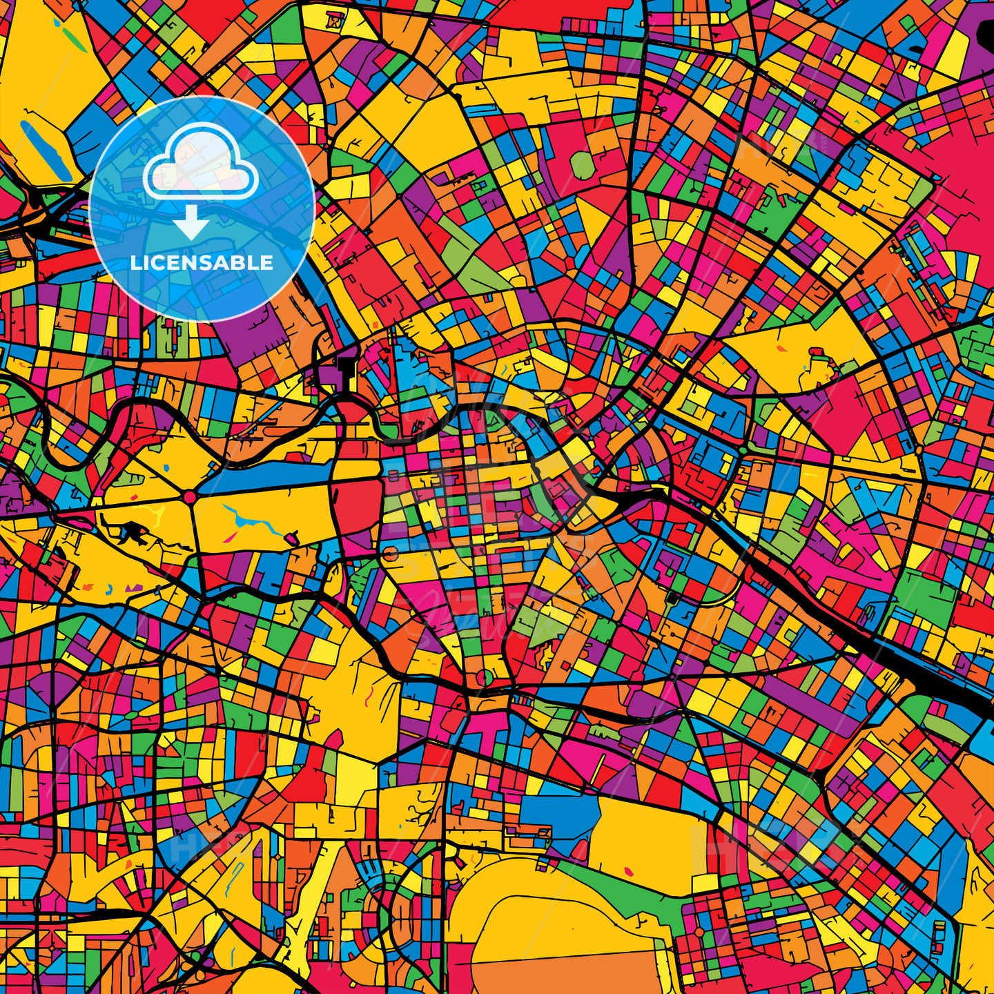 Berlin Germany Colorful Map - HEBSTREIT's Sketches