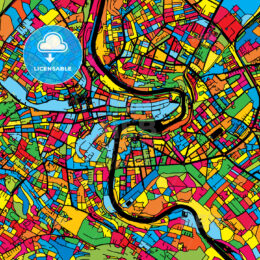 Bern Switzerland Colorful Map