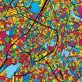 Brussels Belgium Colorful Map - Hebstreits